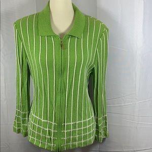 ST. JOHN lime green & white Santana knit zip